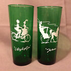 2 Forest Green Tom Collins Glasses / Tumblers with White Bicycle