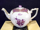 HEREND CHINESE BOUQUET LAVENDER TEAPOT,FOR 3 TEACUPS,BUTTERFLY LID END