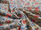 TINY FLORAL JERSEY PRINT~COTTON BLEND~CORAL/BLUE/GREEN/IVORY~DOLL FABRIC~18