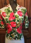 VINTAGE 1950's McMULLEN NOVELTY FLORAL BUTTERFLY PRINT COTTON SATEEN BLOUSE M