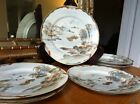 Set of 6 Vintage Japanese Hand Painted Porcelain Plates w/ Boats Kutani?- Signed