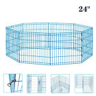 24 8 Panel Dog Playpen Crate Fence Pet Play Pen Exercise Puppy Kennel Cage
