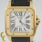 Cartier 18k Yellow Gold Santos 100 Automatic Watch w/ Leather Band 2657 Gift!