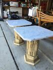 Vintage MCM Pair Italian Marble Top Plaster Pedestal Table Hollywood Regency