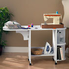 Sewing Table Folding White Craft Art Hobby With Wheels Shelves