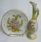 Gialletti Deruta Italy Hand Painted Ewer And Plate, Set