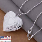 925 Sterling Silver Heart Locket Photo Pendant Necklace 18 + Gift Pouch