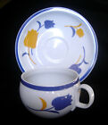 BLOCK VISTA ALEGRE TULIP CUP and SAUCER PORTUGAL Blue Yellow Flowers Tea Coffee