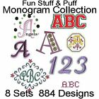 Monogram Fonts Fun Stuff  Puff Machine Embroidery Designs All Formats on 1 CD