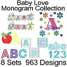 Monogram Fonts Baby Love Machine Embroidery Designs All Formats on 1 CD