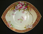 ANTIQUE NIPPON PORCELAIN BOWL HAND PAINTED CHERRY BLOSSOMS GOLD BEADED JAPAN