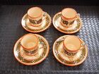 Vintage Set of 4 Greece Pottery ESPRESSO Demitasse Cups and Saucers Coffee Tea