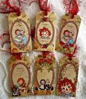 Vintage Raggedy Ann 6 Large Hang Tags Scrapbooking Cards 42 judysjemscrafts