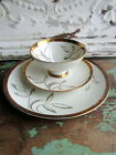 Bareuther Waldsassen Bavaria Germany Tea cup saucer Trio Cream with Gold leaves