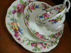 HAMMERSLEY FANCY TEA CUP AND SAUCER WHITE / HAND PAINTED FLORAL SPUR HANDLEc1905