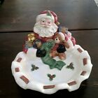 FITZ AND FLOYD OMNIBUS Toyland Santa Tidbit Candy Cookie Nut Dish Bowl Christmas