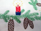 Vintage Christmas Tablecloth Hand Embroidered Linen w Pinecones