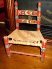 Vintage Wooden Child's Chair with Rush Seat Hand Painted flowers Folk Art