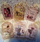 Fairy Garden Vintage 6 Large Hang Tags Scrapbooking Cards 2 judysjemscrafts
