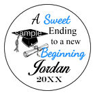 Graduation Party Favor Sweet Ending Personalized Round Labels Stickers