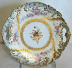 Antique 1890 Limoge Cake Gold Encrusted, Hand Painted,Pierced Handles Gorgeous