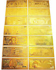 NEW GOLD BANKNOTE SET 1/2/5/10/20/50/100 999 PURE COIN 24K BANK NOTE DOLLAR BILL