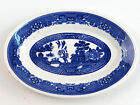 VTG Buffalo Willoware USA China Small Oval Plate Gravy Boat Liner Blue Willow