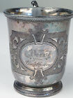 Antique Silverplate Cup Meriden Wilcox Brittania Monogram Bennie Uncle Clinton