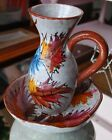 Pitcher and Bowl Italy Hand Painted Gray Brown Tan Leaf Vintage Beautiful Art