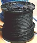 ANCHOR ROPE DOCK LINE 3 8 X 50 BRAIDED 100 NYLON BLACK MADE IN USA