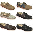 Mens Boat Shoes Moccasins Lace up Faux Leather Moc Toe Deck Casual Driving Sizes