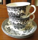 Barratts England Black Birds Flowers Leaves Swirl Edge 2 Cups And Saucers NOS