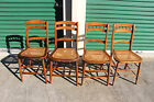 Nice Set of 4 Solid Walnut Victorian Cane Bottom Chairs w Spindle Backs Ca.1880