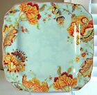 222 Fifth Gabrielle Spring Blue Square Dinner Plates, Set of 4, Paisley, New, Fr