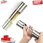 Salt and Pepper Grinder Set 2 in 1 Adjustable Ceramic Mill Stainless Steel NEW