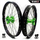KKE 21/19 Dirtbike Mx Wheels Rims Set Fit KAWASAKI KX250F KX450F 2006-2019 Green
