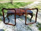 1940's Imperial Grand Rapids Furniture 2 Tray Carved Mahogany Coffee Tea Table