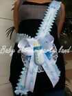 Welcome Baby Shower Mom To Be Its a Boy Sash Blue Bottle Ribbon and Corsage