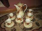 Pretty Vintage Coffee Pot and 6 Cups and Saucers