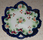 Vintage Leaf Shape Plate Hand Painted Flowers With Gold Trim Japan