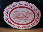 FITZ & FLOYD TOWN & COUNTRY LARGE RED TOILE PLATTER SERVING TRAY NEVER USED