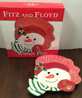 Fitz & Floyd Christmas Snowman Canape Tray New in Box Appetizer Dish