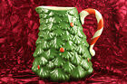 Vintage Treasure Craft Large Christmas Tree Pitcher with Candy Cane Handle, USA