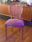 Vintage FRENCH LOUIS XVI STYLE FRUITWOOD CANED Riveted Suede DINING CHAIR