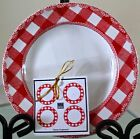 222 FIFTH HOME CUPBOARD APPETIZER DESSERT PLATE RED WHITE PORCELAIN NEW SET OF 4