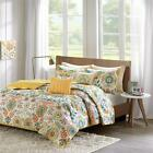 Trendy Teen Yellow Orange Teal Bohemian Chic Floral Quilt Coverlet Set 5 Piece