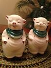 Pair Vtg USA Shawnee LARGE Smiley Pig Salt and Pepper Shakers Green Kerchiefs