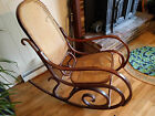 Vintage Thonet Style Bentwood Rocker Caned Rocking Chair Made in Poland Antique