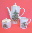 Green Christmas Coffee Pot, Creamer and Sugar Bowl