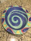 Clay Art Mosaic Blue Fish handpainted Serving Platter ONLY Tray 16